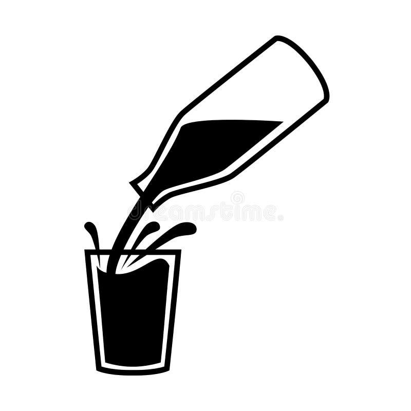 Естественные символ или логотип молока Молоко лить от бутылки с брызгает в стекле иллюстрация вектора