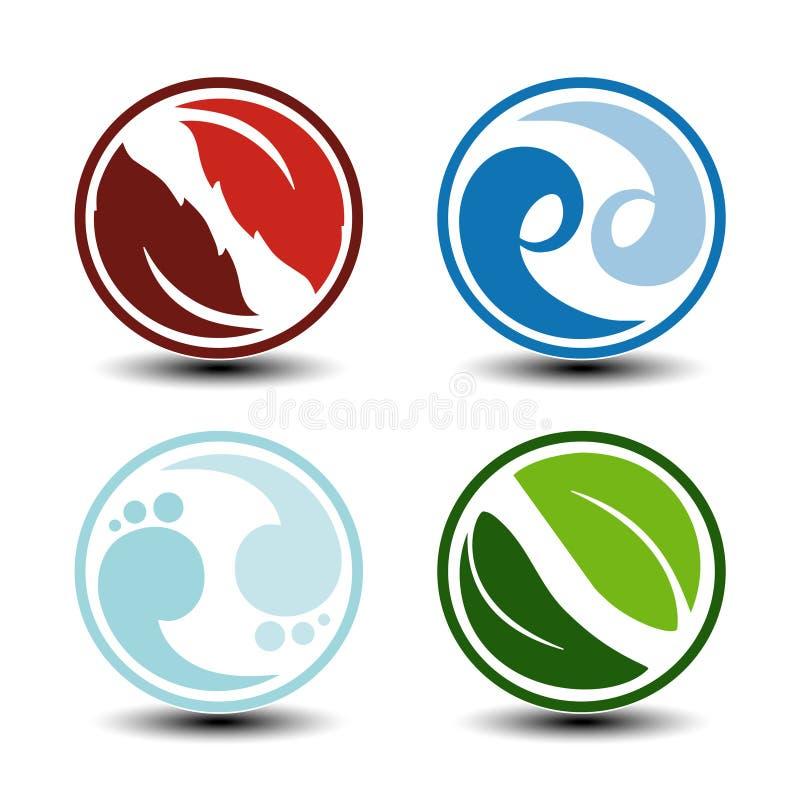 Естественные символы - огонь, воздух, вода, земля - значки природы круговые с пламенем, воздухом пузыря, водой волны и лист Элеме иллюстрация вектора