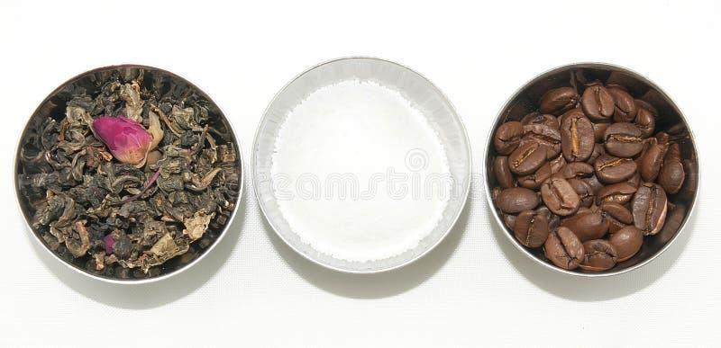 Естественные чай, кофе и сахар стоковые фото