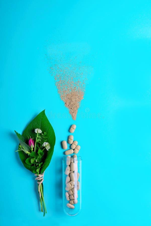 Естественные vegetable пилюльки, добавка, зеленые лист и бутылка Концепция здоровья естественных и завода Здоровый уклад жизни стоковое фото rf