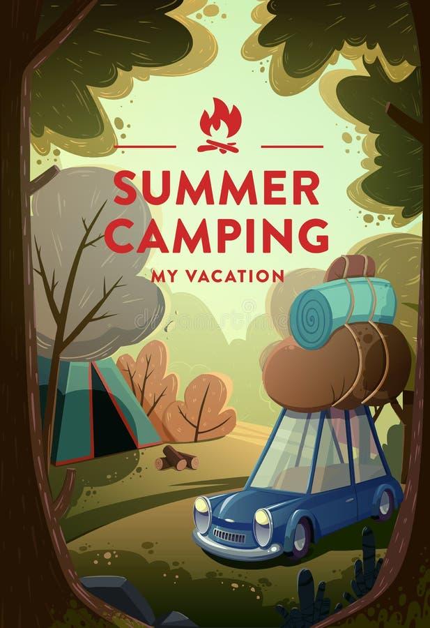 Естественный ландшафт с лагерем праздника в лесе иллюстрация вектора