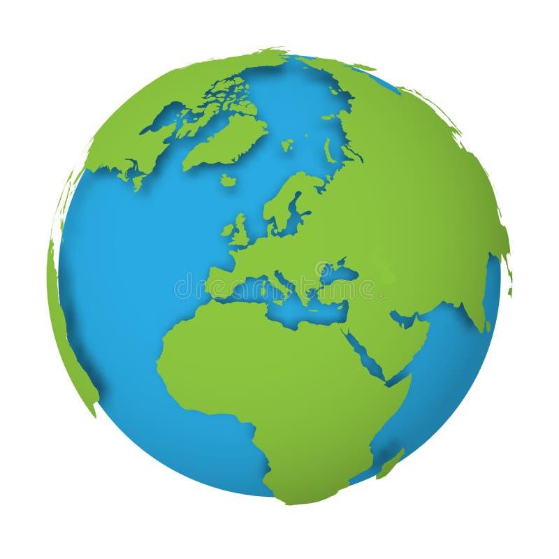 Естественный глобус земли карта мира 3D с зелеными землями падая тени на голубых морях и океанах также вектор иллюстрации притяжк иллюстрация штока