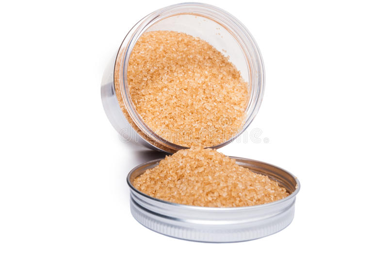 Естественный и здоровый unrefined желтый сахарный песок в пластичном жулике хранения стоковое изображение rf