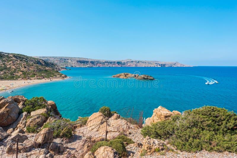 Естественный ландшафт на острове Греции Крита, пляже Vai стоковое фото