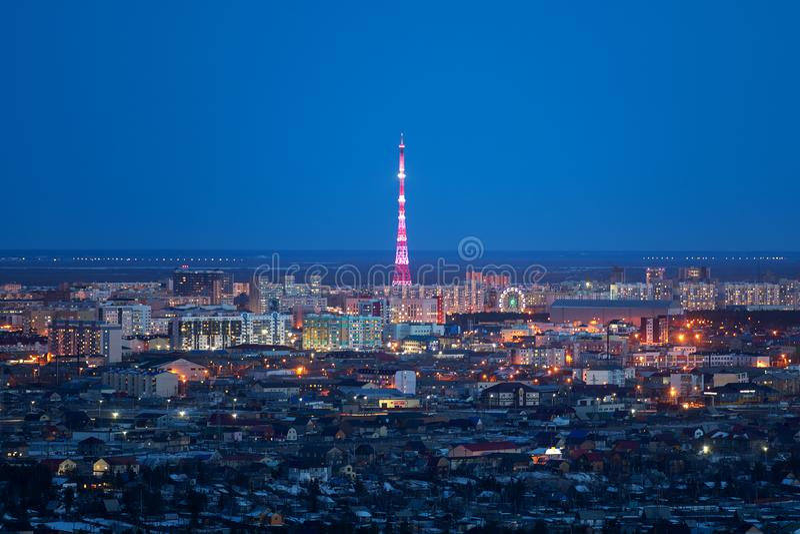естественный ландшафт ночи в Якутске, Yakutia стоковая фотография rf