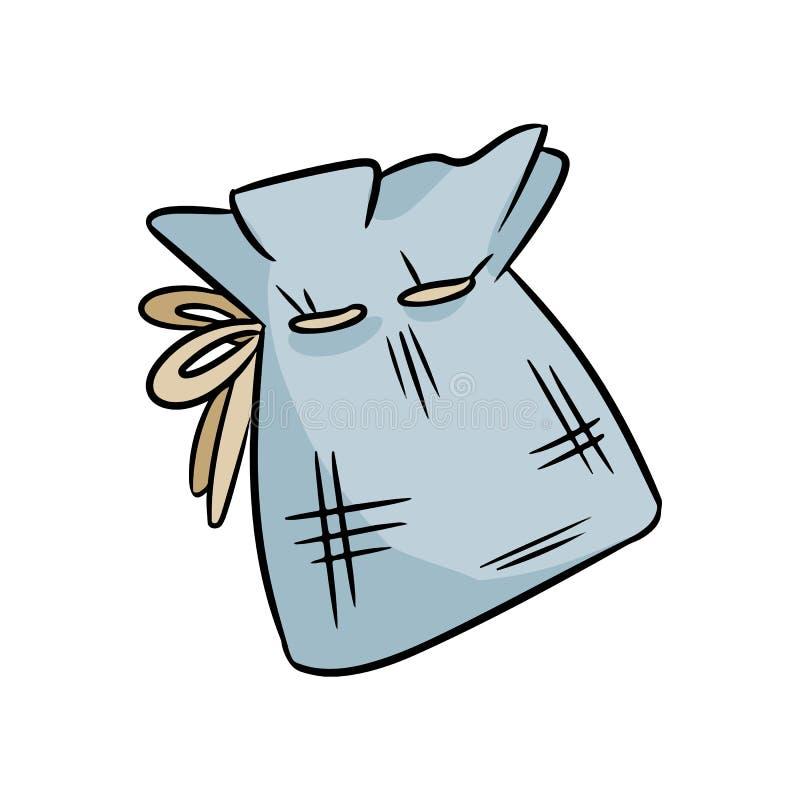 Естественный материальный doodle сумки хлопка Сумка экологических и нул-отхода Зеленый дом и свободное от пластмасс прожитие бесплатная иллюстрация