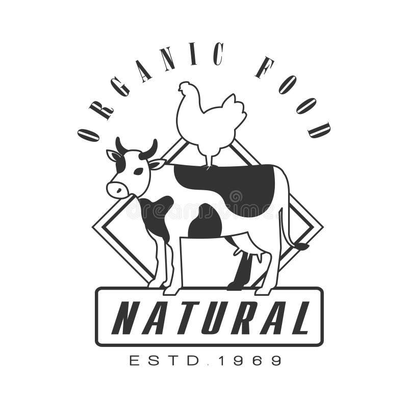 Естественный логотип 1969 estd натуральных продуктов Черно-белая ретро иллюстрация вектора бесплатная иллюстрация
