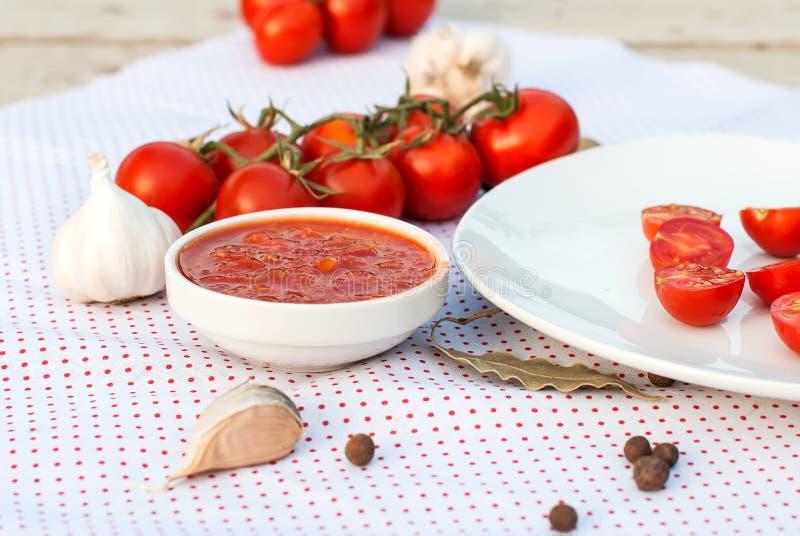 Естественный домодельный соус томатов, перцев и овощей стоковые фотографии rf