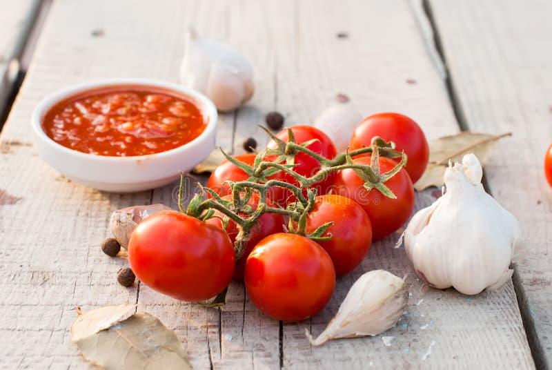 Естественный домодельный соус томатов, перцев и овощей стоковое изображение
