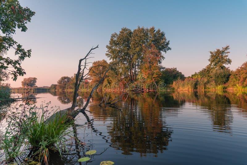Естественный пейзаж озера во время осени/сезона падения с красочными деревьями стоковые изображения rf
