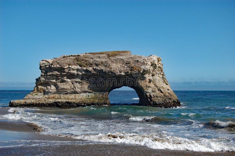 Естественный пляж положения мостов, Santa Cruz, Калифорния стоковое фото rf