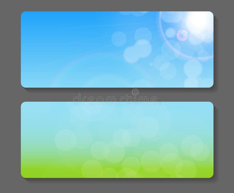 Естественный солнечный вектор знамени Backgroundc иллюстрация вектора