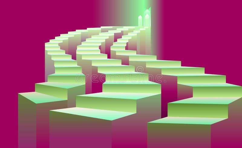 3 лестницы водя к свету иллюстрация штока