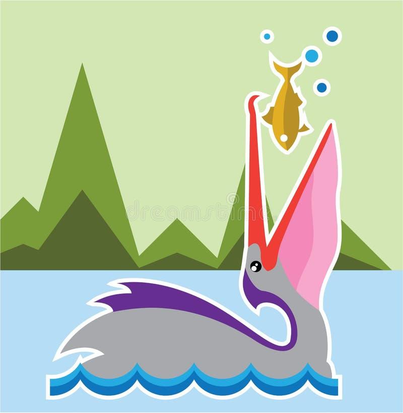 ест пеликана рыб иллюстрация вектора