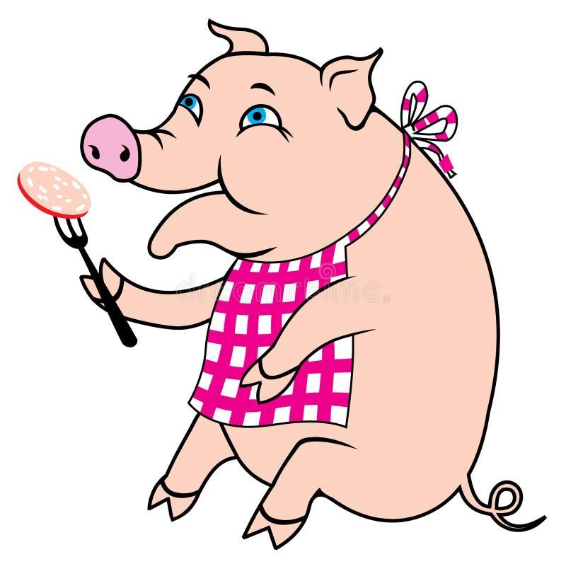 ест piggy сосиски свинины иллюстрация вектора
