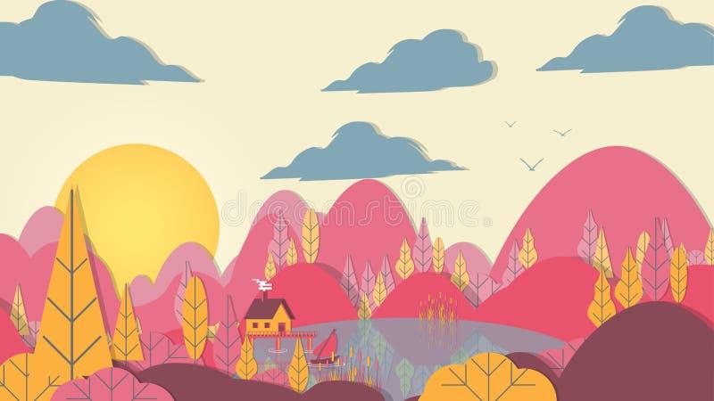 лес Applique стиля Бумаг-отрезка с озером и небольшим домом - Vect иллюстрация вектора