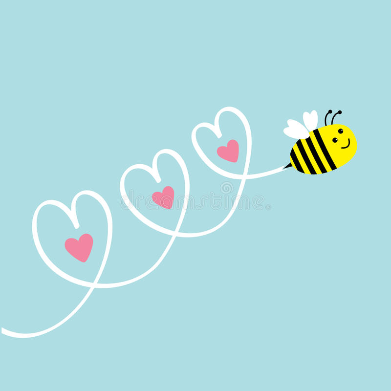 летание пчелы милое небо 3 сердец карточка 2007 приветствуя счастливое Новый Год текст космоса экземпляра предпосылки младенца Пл бесплатная иллюстрация