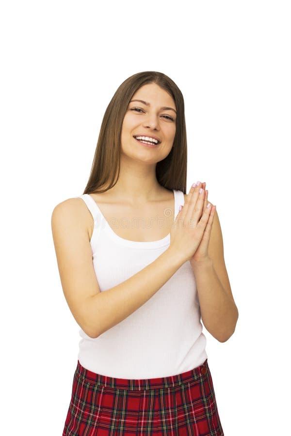 детеныши белой женщины предпосылки счастливые изолированные стоковое изображение