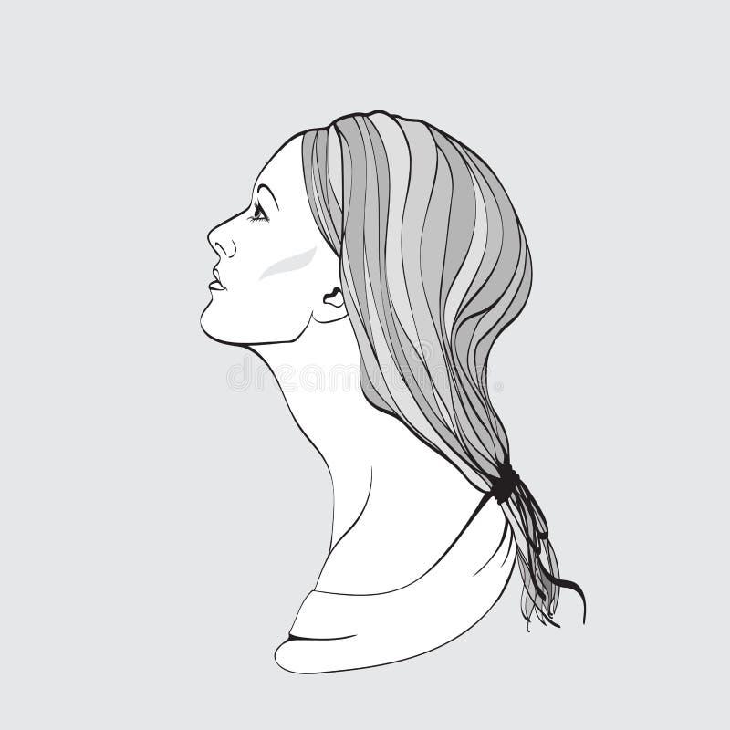 детеныши женщины взгляда профиля портрета милые Illustrat вектора бесплатная иллюстрация