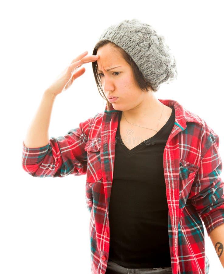 Download детеныши женщины головной боли терпя Стоковое Изображение - изображение насчитывающей потеря, затруднение: 41651543