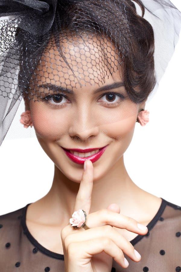 детеныши женщины губ перста стоковая фотография rf