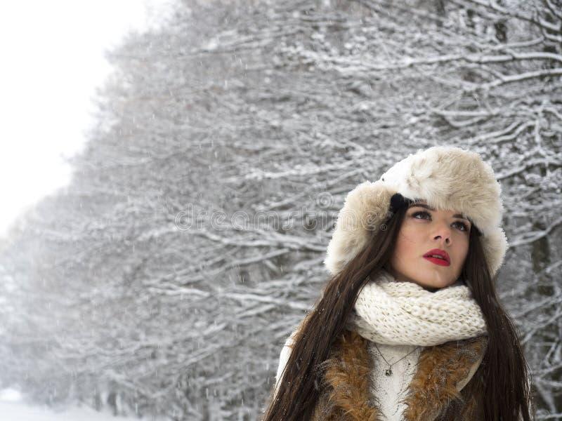 детеныши женщины зимы портрета стоковые фото