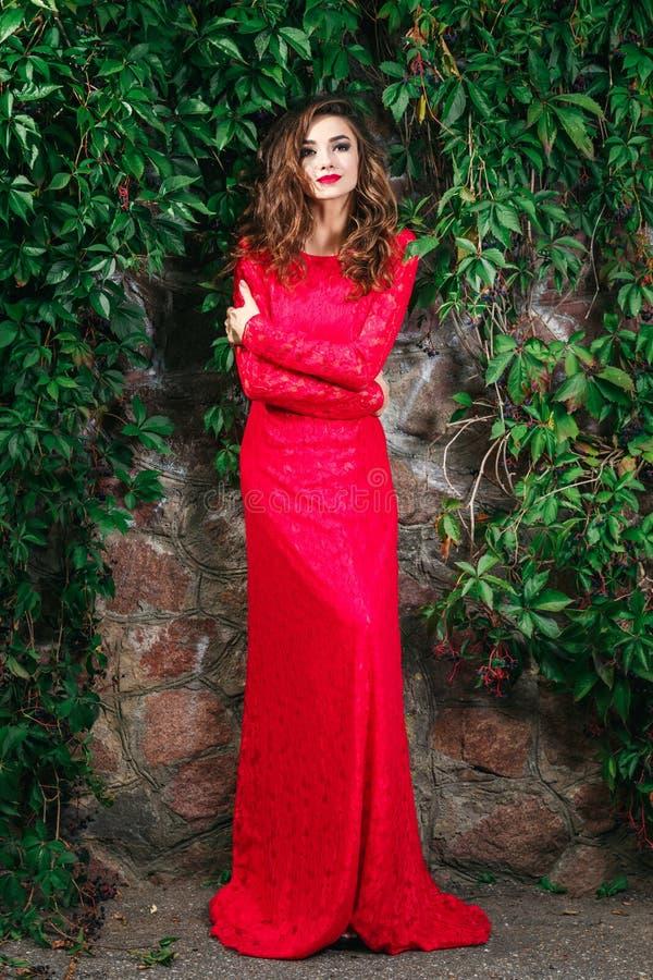 детеныши женщины красивейшего платья красные стоковые изображения rf