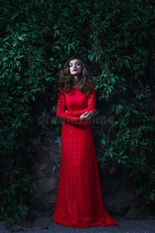 детеныши женщины красивейшего платья красные стоковое фото rf