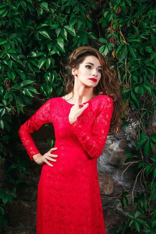 детеныши женщины красивейшего платья красные стоковое фото