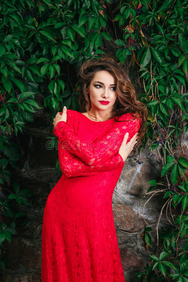 детеныши женщины красивейшего платья красные стоковое изображение rf