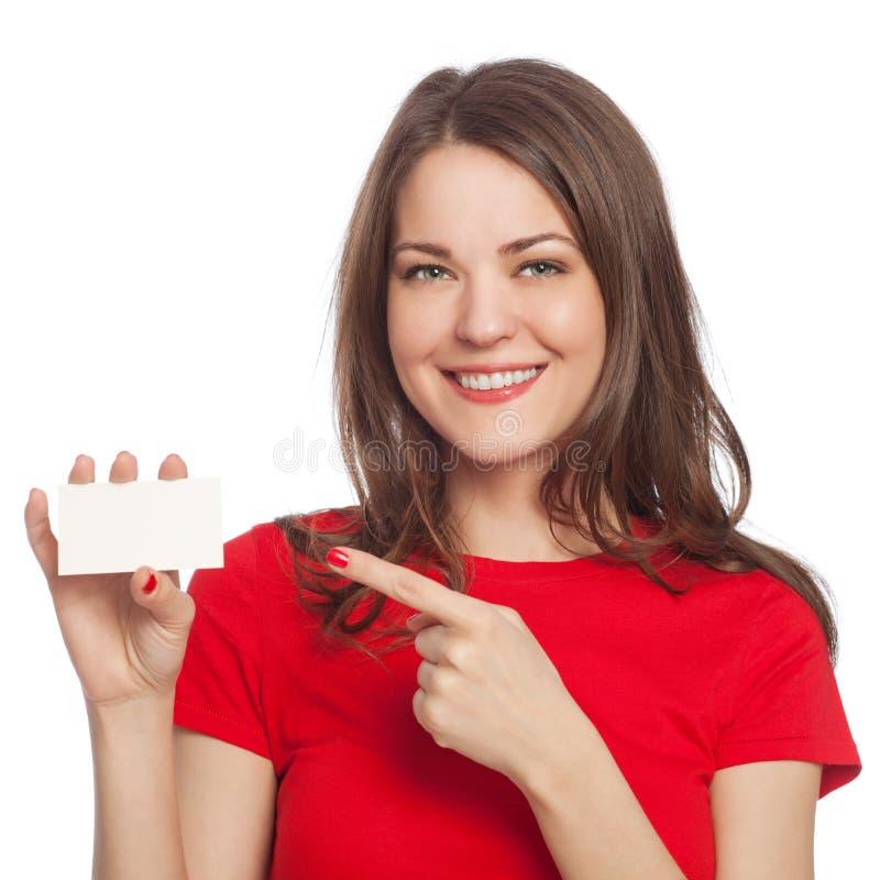 детеныши женщины пустой карточки стоковая фотография rf