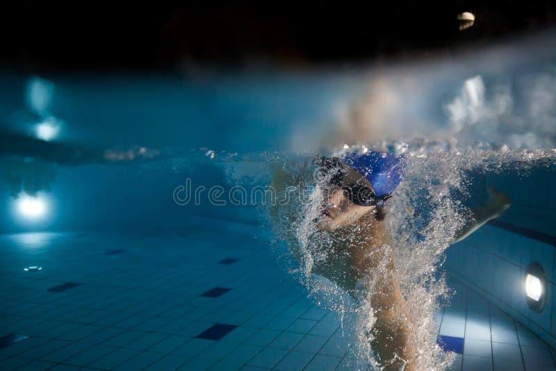 детеныши заплывания бассеина человека стоковое изображение rf