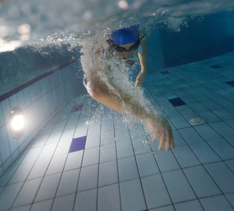 детеныши заплывания бассеина человека стоковое фото