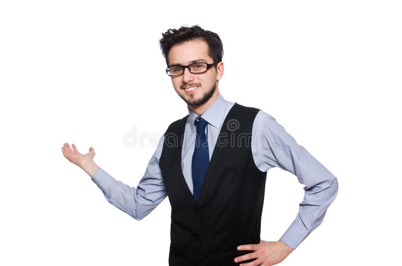 детеныши изолированные бизнесменом белые стоковые фото