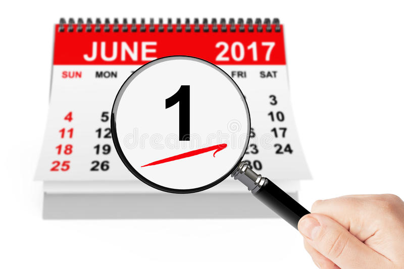 лето seashells песка рамки принципиальной схемы предпосылки Календарь 1-ое июня 2017 с увеличителем стоковое фото rf