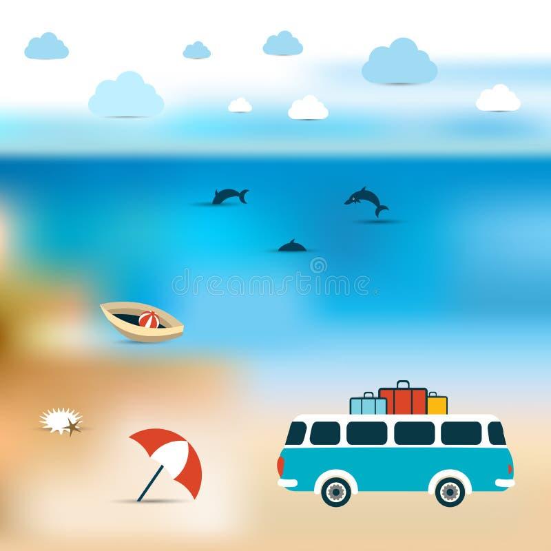 лето seashells песка рамки принципиальной схемы предпосылки Предпосылка пляжа океана более голубая иллюстрация штока