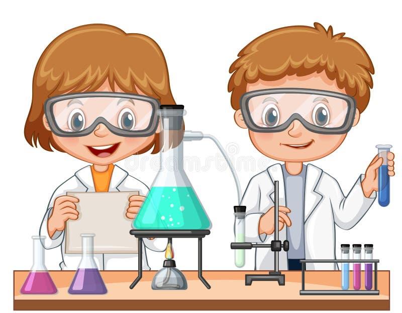 2 дет делая эксперимент по науки в классе иллюстрация вектора