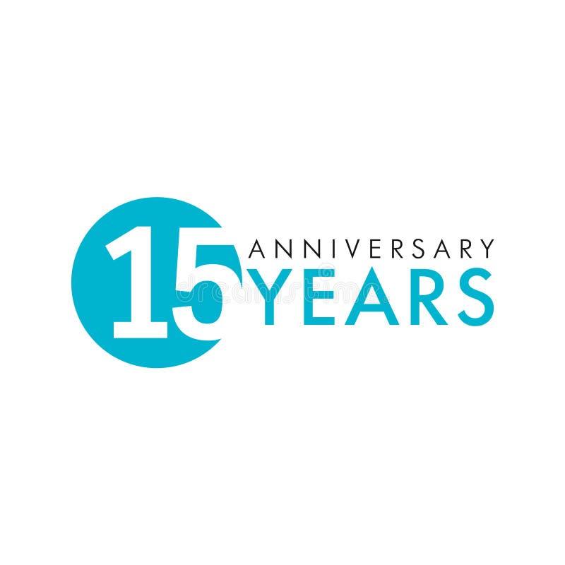 15 лет старого круглого логотипа иллюстрация вектора