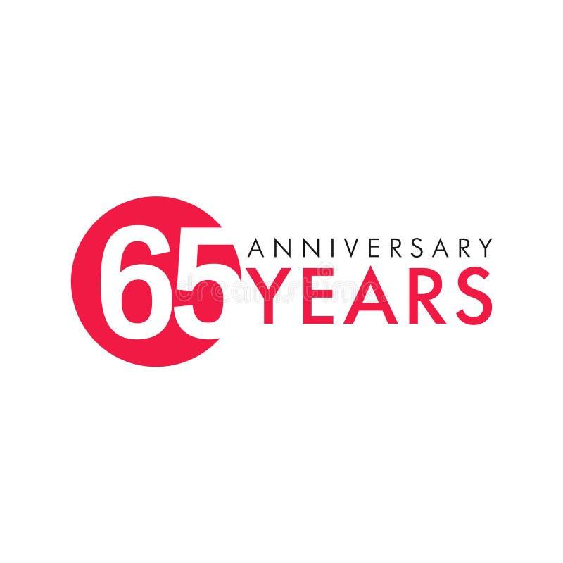 65 лет старого круглого логотипа иллюстрация вектора