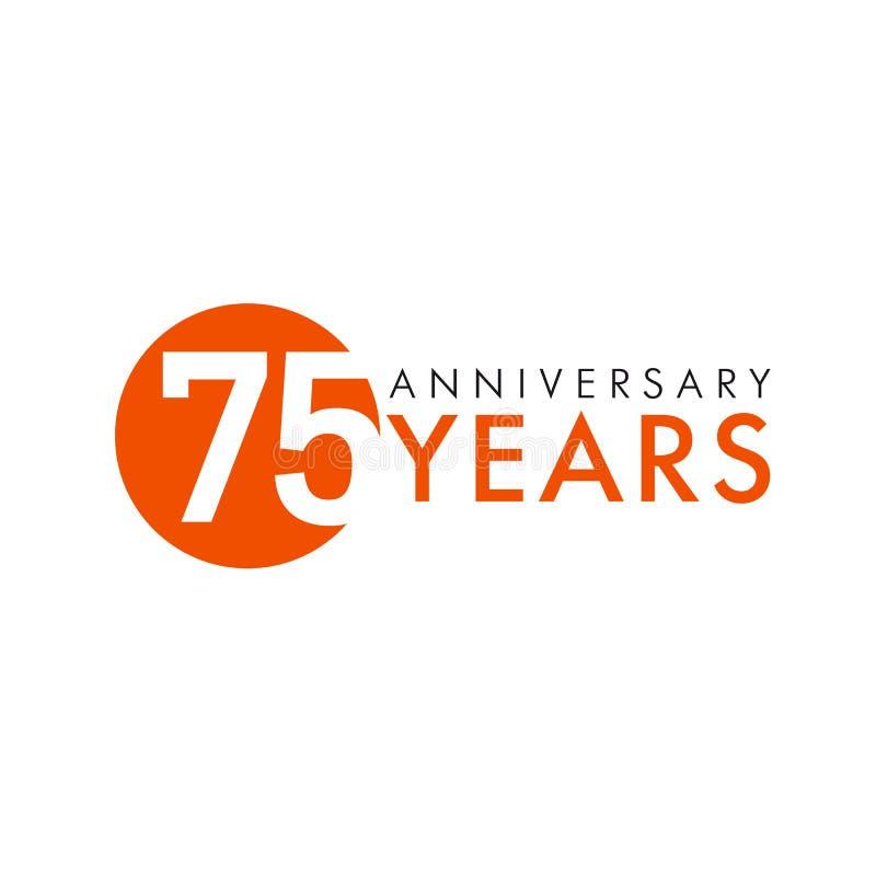 75 лет старого круглого логотипа иллюстрация штока