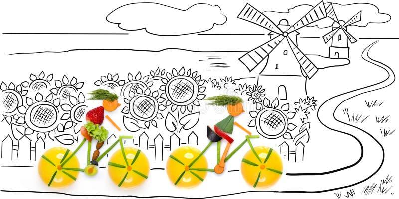 Ехать в солнцецветах. иллюстрация штока