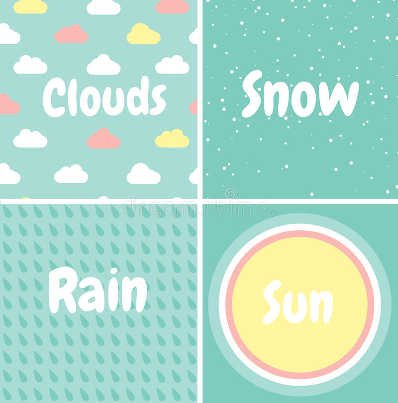 делает по образцу безшовный комплект Снег, дождь, облака, солнце иллюстрация вектора