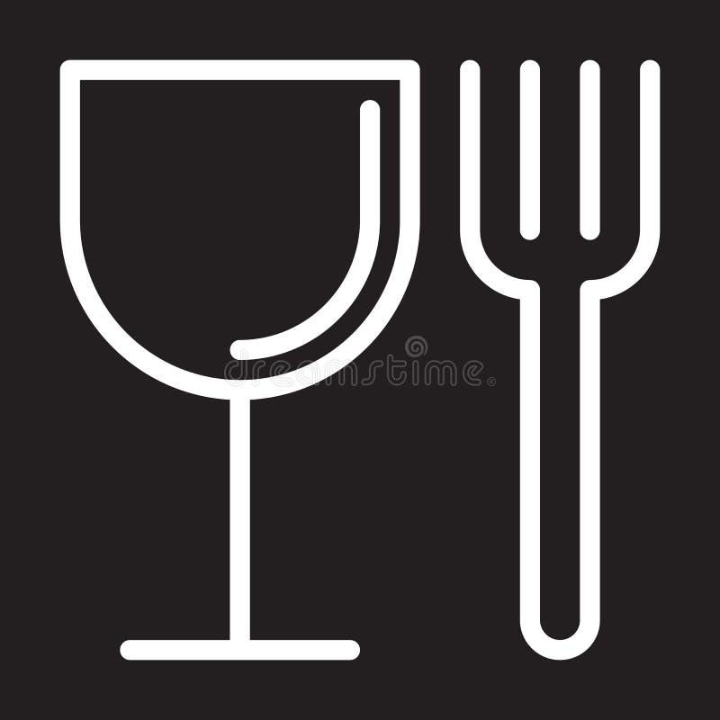 Еда, вилка и стекло выравнивают значок, белый знак плана, иллюстрацию вектора иллюстрация вектора