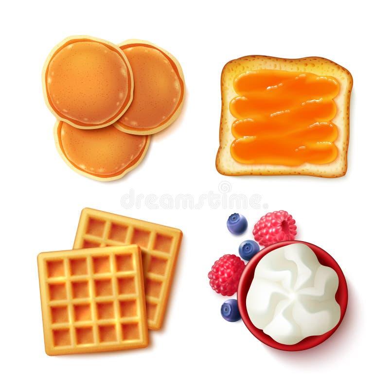 Еда завтрака 4 для того чтобы осмотреть детали иллюстрация вектора