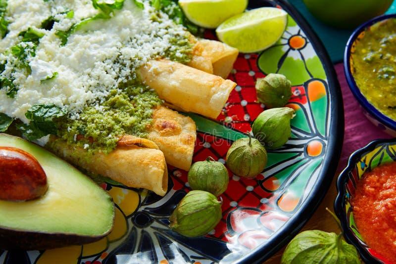 Еда зеленых энчилада мексиканская с гуакамоле стоковое изображение rf