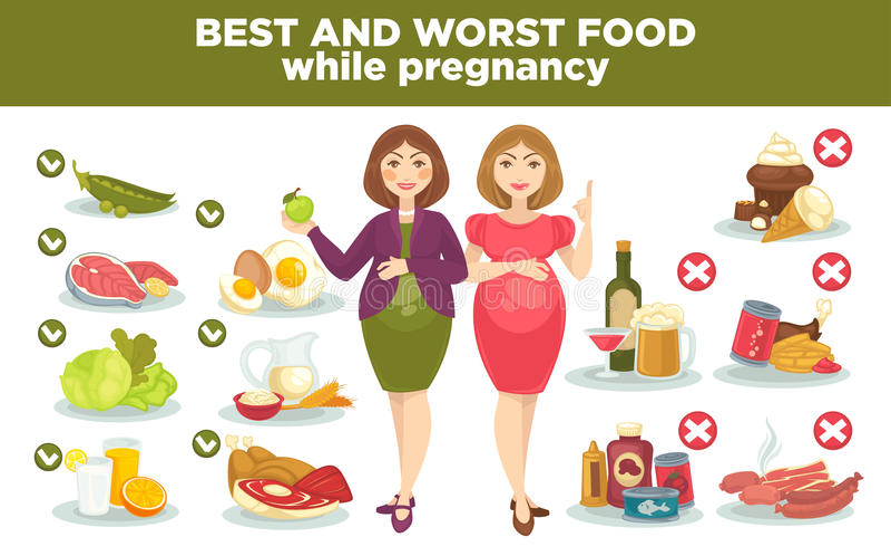 Еда диеты беременности самая лучшая и худшая пока беременная бесплатная иллюстрация