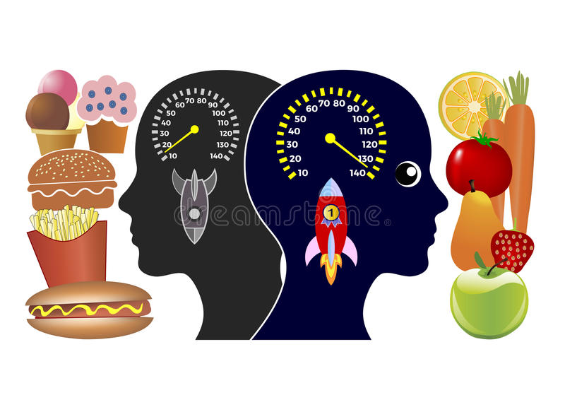 Еда и высококалорийная вредная пища энергии бесплатная иллюстрация
