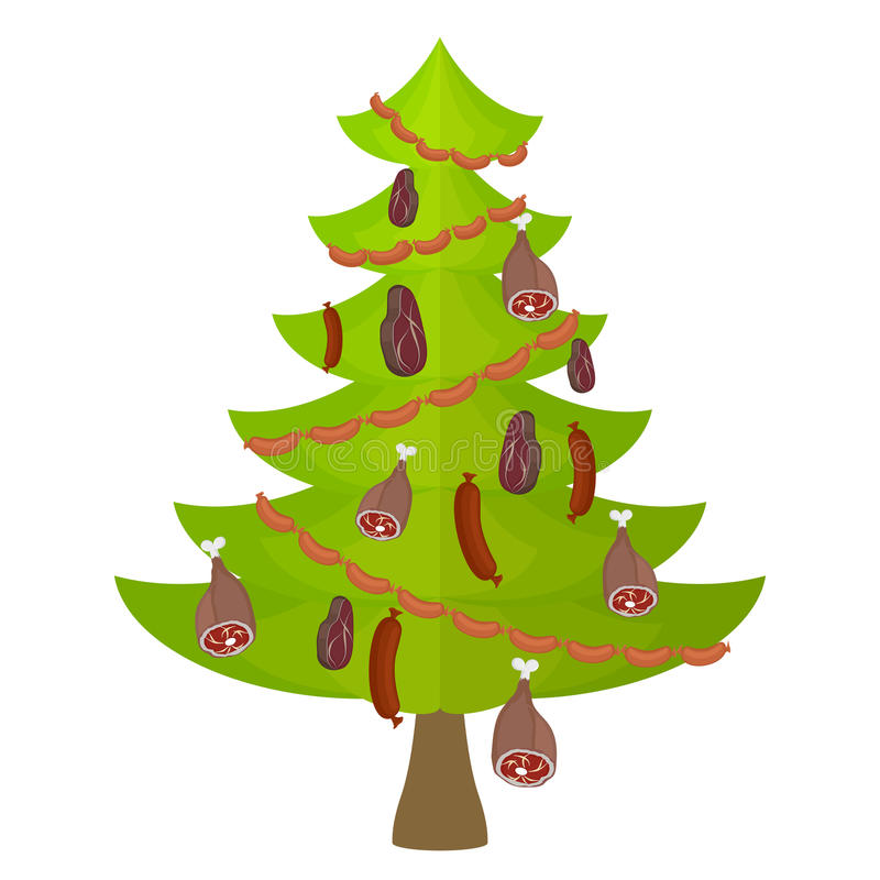Еда и деликатес мяса дерева рождество украсило вал бесплатная иллюстрация