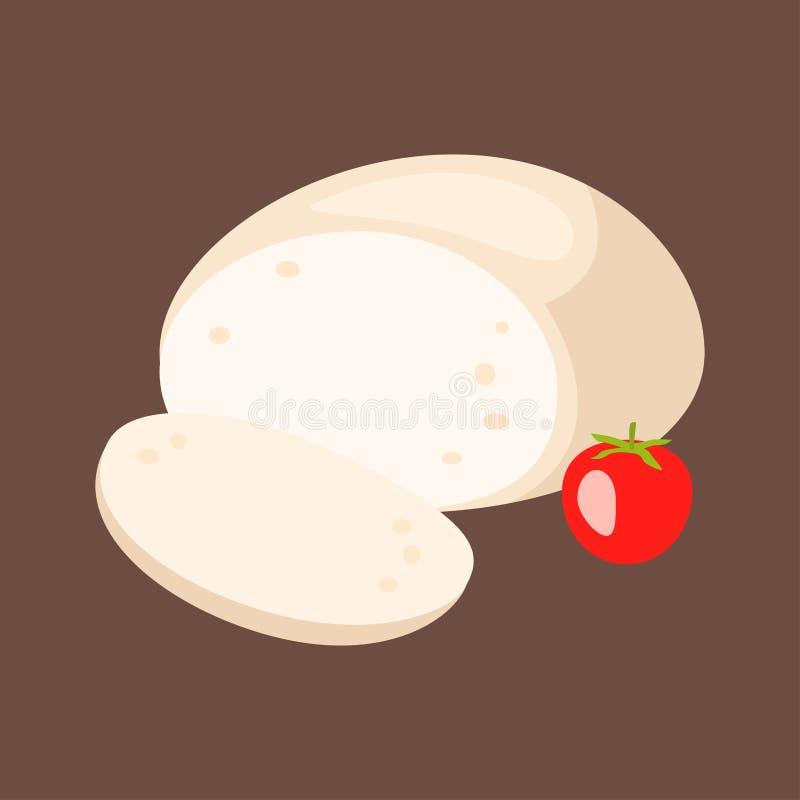 Еда молокозавода очень вкусного значка обедающего разнообразия свежего сыра итальянского плоские и камамбер молока соединяют еду  иллюстрация штока