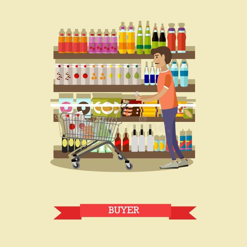 Еда мужского клиента покупая в гастрономе Плакат концепции вектора бесплатная иллюстрация
